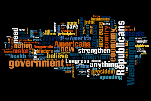 A word cloud (the more often used, the larger) generated from a speech by Governor Bobby Jindal in 2009. (Photo by Jason-Morrison/Flickr)
