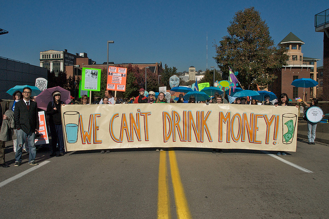 Marchers in Pittsburg protest fracking in November, 2010. (Photo by Marcellus Protest/Flickr)