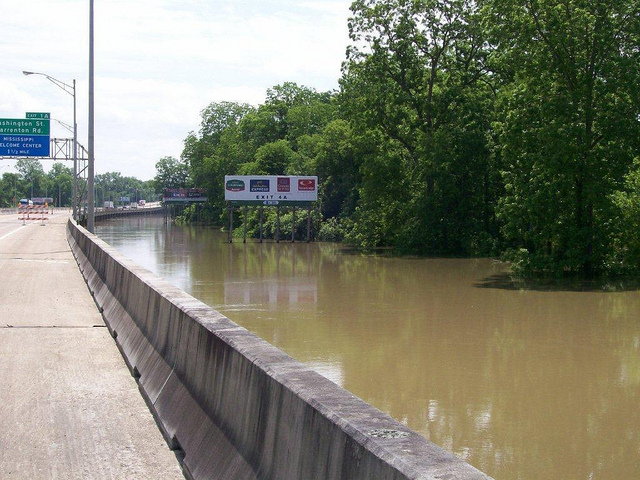 The Mississippi River lapped briefly at the edge of Interstate 20 in Vicksburg, Mississippi, and then receded. This time. (US Forest Service photo)