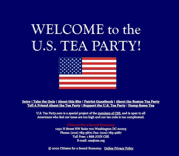 Home page of a Tea Party website put up by a Koch-funded group seven years before the movement took fire.