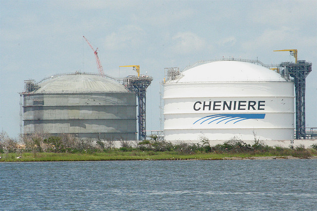 Energy independence for sale, as soon as Cheniere finishes building these LNG holding tanks at Sabine Pass, Louisiana. (Photo by Roy Luck/Flickr)