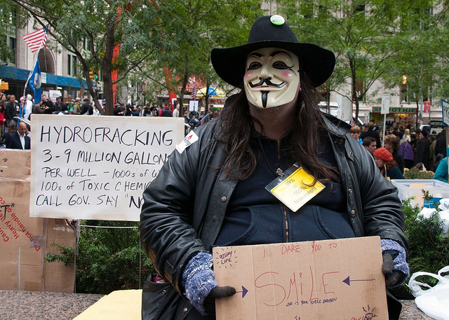 Occupy Wall Street protesters take on fracking in 2011. Both revolutions have pretty much sputtered out. (Photo by Tony Fischer/Flickr)