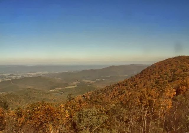 Spectacular? Not Really. The fall foliage season is increasingly pastel, washed out, as on Virginia's Blue Ridge Mountains pictured here. The culprit is that visible, constant pall of pollution. (National Park Service Photo)