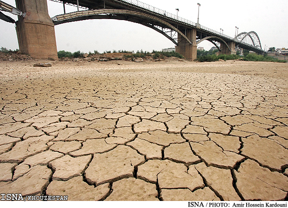 Bridge Over Vanished Water: A dry riverbed in the Al-Ahwaz region of Iran, site of the country's worst drinking water crisis, 90 per cent of Iran's oil production, one third of the country's water and the most polluted city on earth. (Ahwaz News Agency photo)