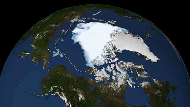 The outline shows the normal extent of Arctic sea ice. This is where it was in the summer of 2012. But wait there's more. (NASA Goddard photo)