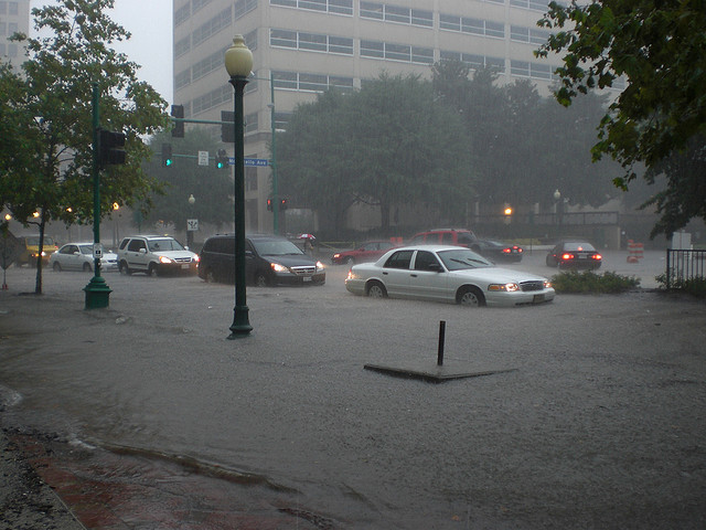 With distressing and increasing frequency, the streets of Norfolk, VA resemble the canals of Venice. The water is rising all along the US East Coast. (Photo by telmnstr/Flickr)