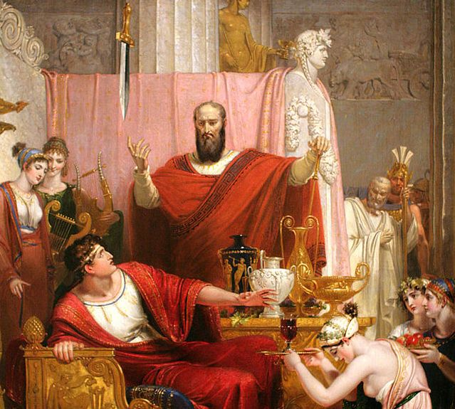 Damocles learned that when you know about the sword up there, it's hard to enjoy a life of luxury. Bingo.