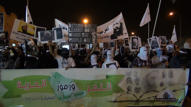 Just a garden-variety protest in some Middle Eastern county, you say, nothing to be afraid of here? Wait till you find out where these people are. (BBC Photo by Safa Al-Ahmad)