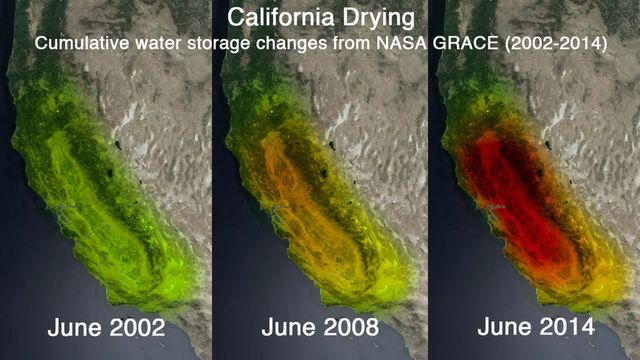 Gravity sensing satellites have measured the withdrawal of water from the aquifer underlying California's Central Valley. It's almost over. (NASA images)