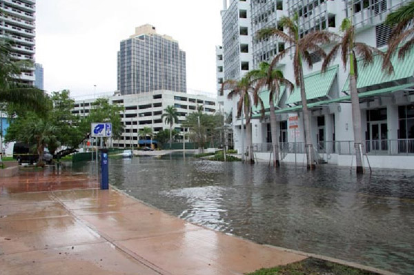 High-tide flooding caused by rising seas is impacting Miami and cities as far north as Boston with ever increasing frequency and severity. (Photo by Harold Wanless, University of Miami)
