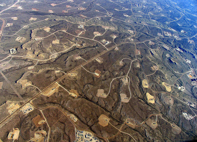 No, this is not a Dallas suburb, it's a fracking field. If you don't like it now, imagine it in a few years, when it has been abandoned. (Photo by Simon Fraser University)