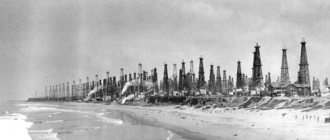 What America will look like of the frackers have their way -- and what Huntington Beach, California looked like in 1926. But according to the IEA's World Energy Outlook, we shouldn't be too concerned about what the frackers are going to be able to do.  (Photo courtesy Orange County Archives)