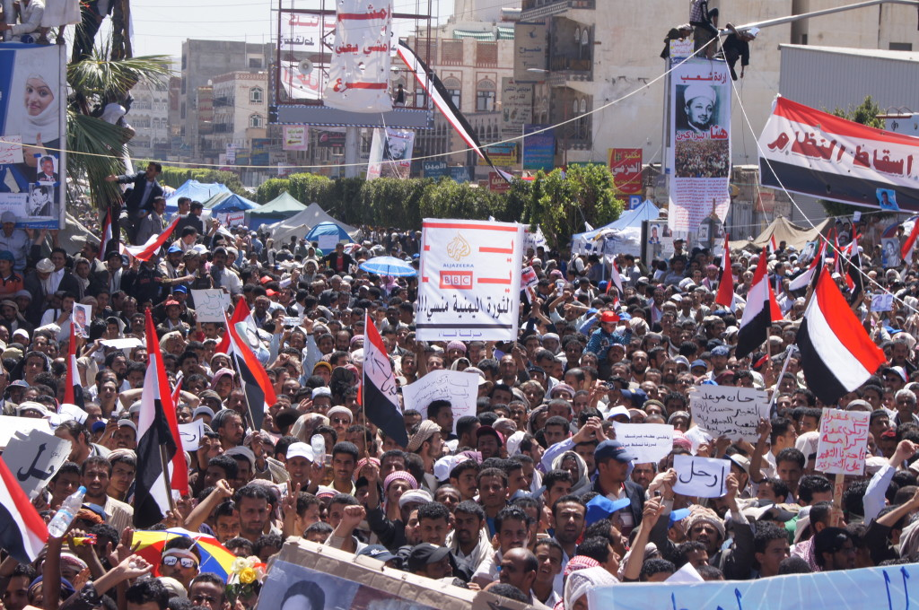 What happens when Yemenis have had enough, as they did in 2011. It's not about which son of Allah you follow, or whether you get to vote; it's about food and water and fuel. Always. (Wikipedia Photo)