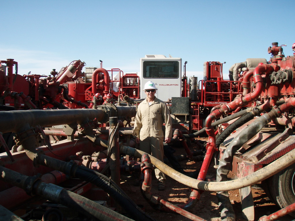 This happy fracker -- a Halliburton employee at a site in North Dakota's Bakken play -- obviously hasn't got the memo yet. It's over. (Wikipedia photo)