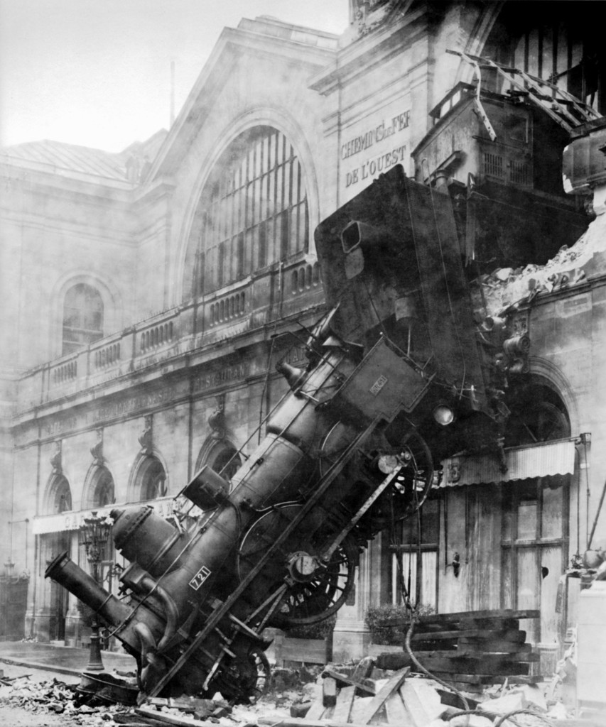 As demonstrated in Paris in 1895, what matters is not whether the train wreck was on time. What matters is that it's a wreck. (Wikipedia Photo)