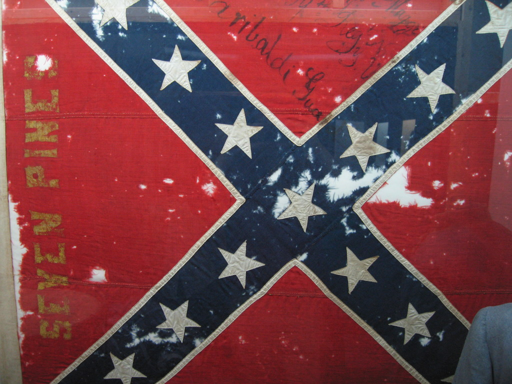 "When this battle flag of the 11th Mississippi Infantry was carried up Cemetery Ridge in Pickett's Charge, it must have felt about as friendless as the ""Confederate flag"" feels today. BTW, what everybody is arguing about today is not the flag of the Confederacy, but the battle flag of the Army of Northern Virginia."