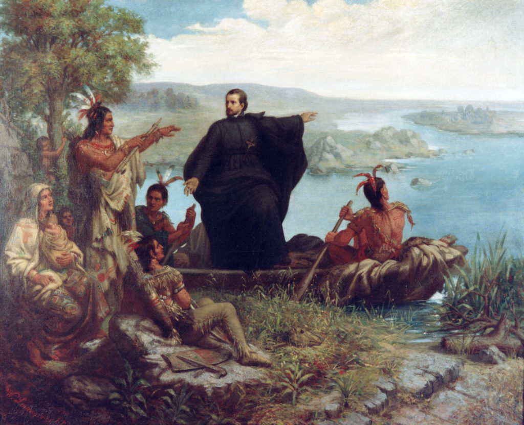 Fr. Jacques Marquette, S.J., a contemporary of Fr. Le Jeune quoted here, at work saving souls of Ojibwas in the western Great Lakes. (Wikipedia Photo)